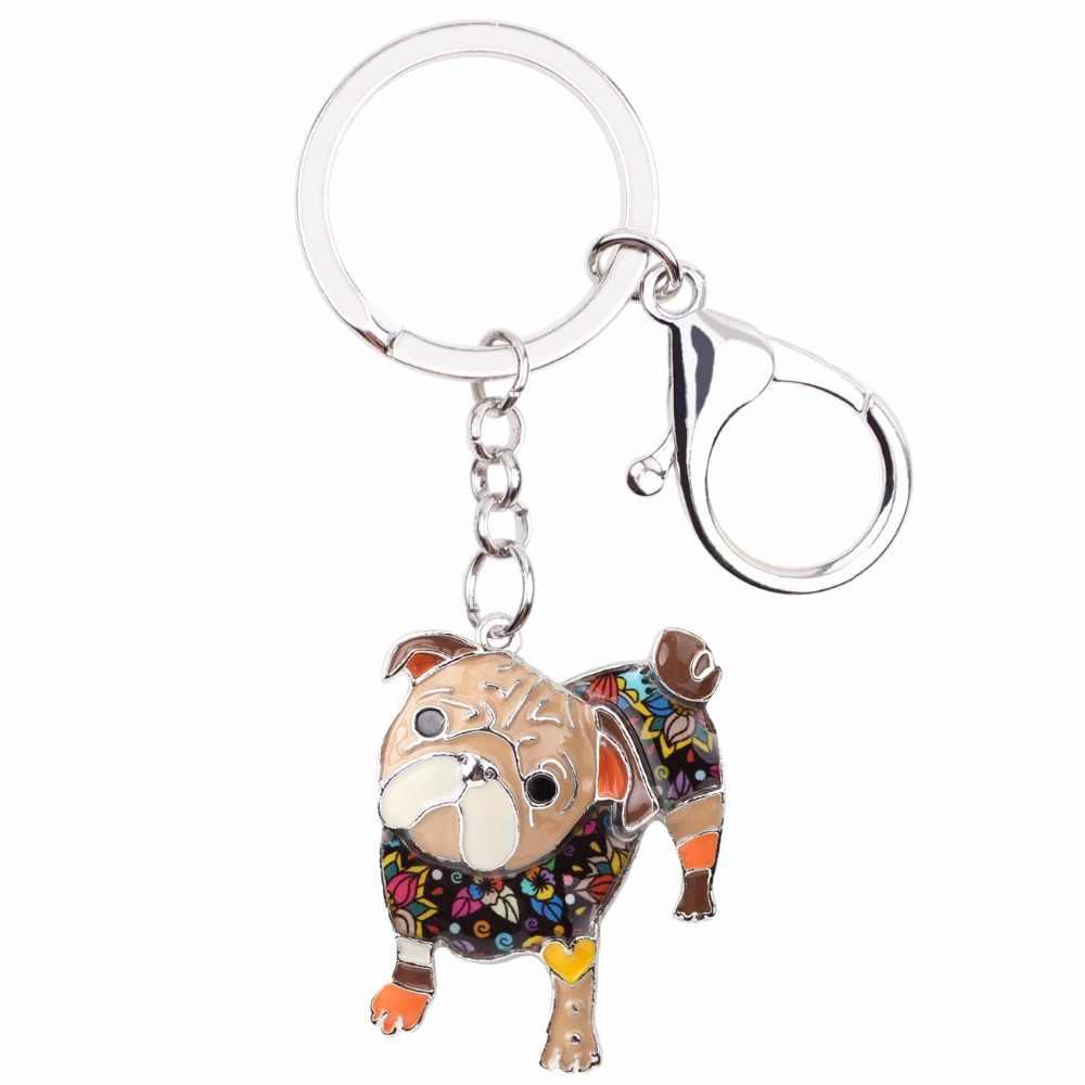 Bonsny Esmalte Liga Bulldog Cão Pug Chave Chaveiros Cadeia Anel Jóias Da Moda Para As Mulheres Meninas Amantes do animal de Estimação Saco Do Presente Pingente carro Novo