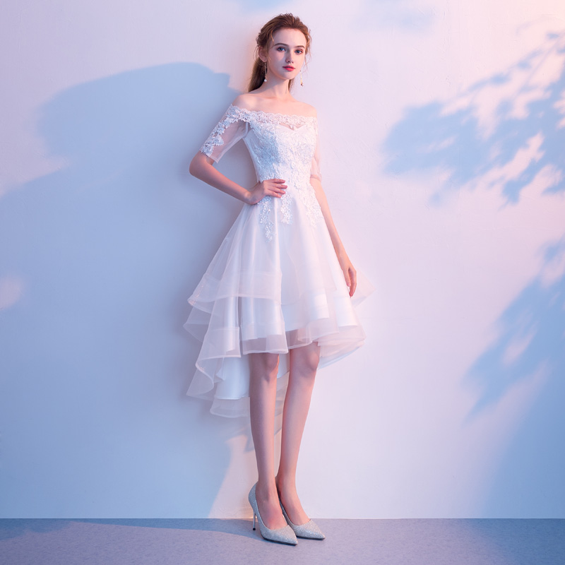 White Tulle High Low Dresses For Graduation Party Sexy Boat Neck Off