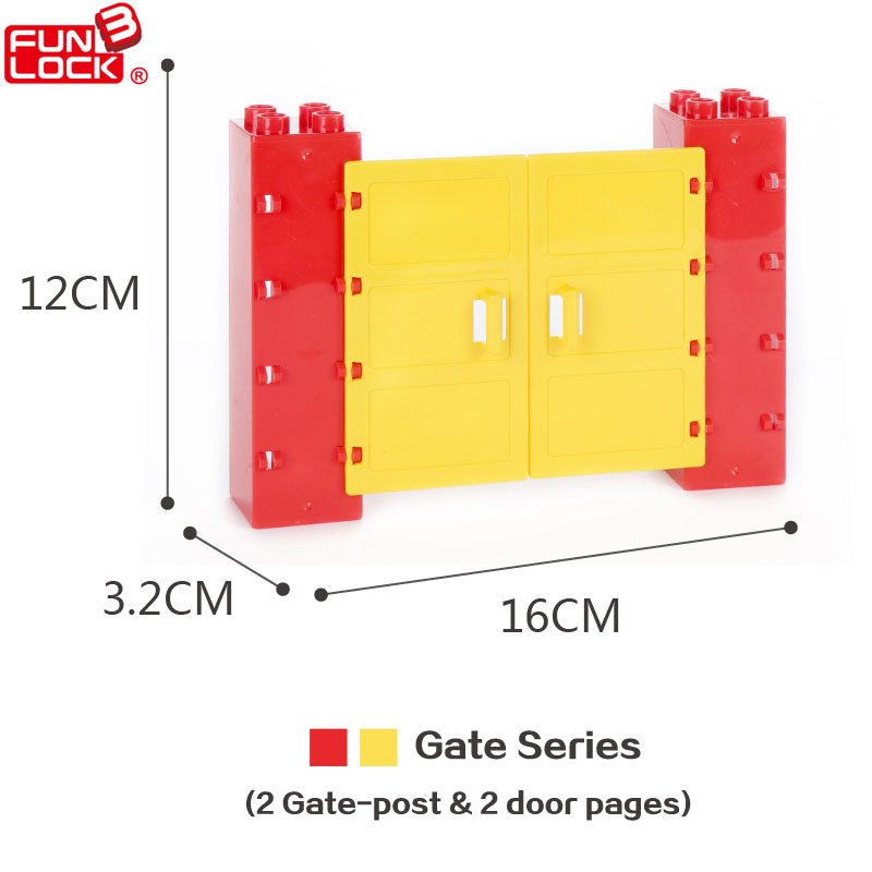 (4 pcs/set) Funlock Duplo Building Blocks Front Gate With 2 Door Pages Education Toys Set For Kids(Yellow) Model Building Kit