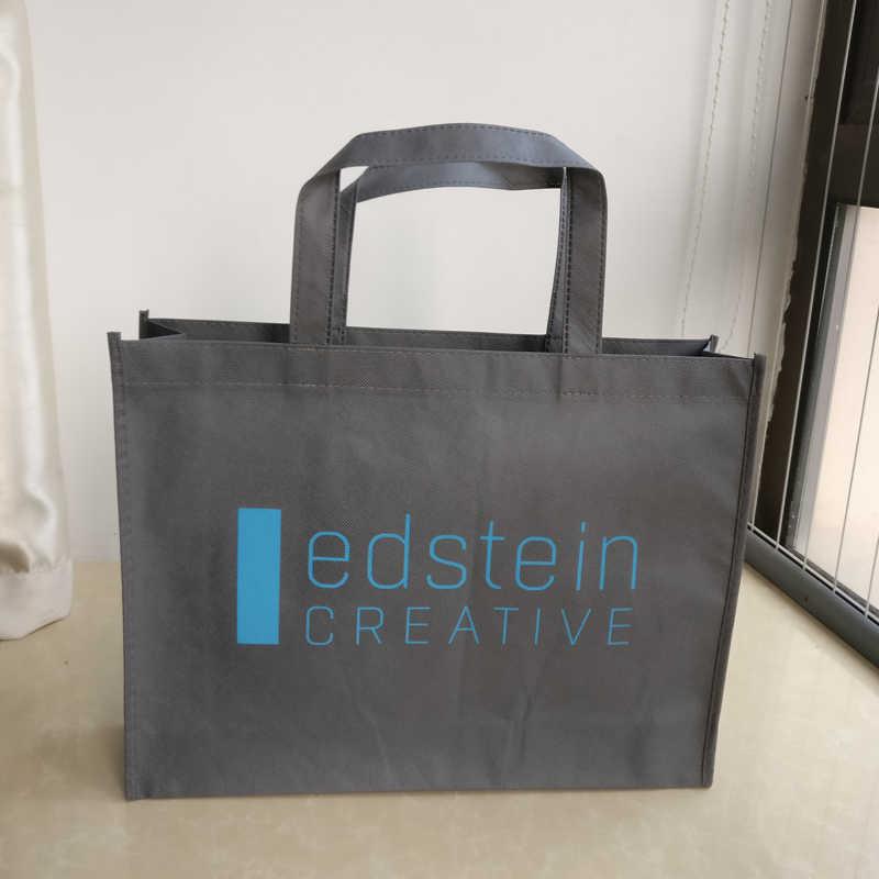 ab8112c8d6 ... 500pcs lot Reusable 30x40x10cm non woven shopping bags custom printing  company brand logo promotional gift ...