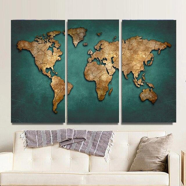 3 panelen grote vintage wereldkaart canvas schilderij prints moderne abstract wall art 3 stuks. Black Bedroom Furniture Sets. Home Design Ideas