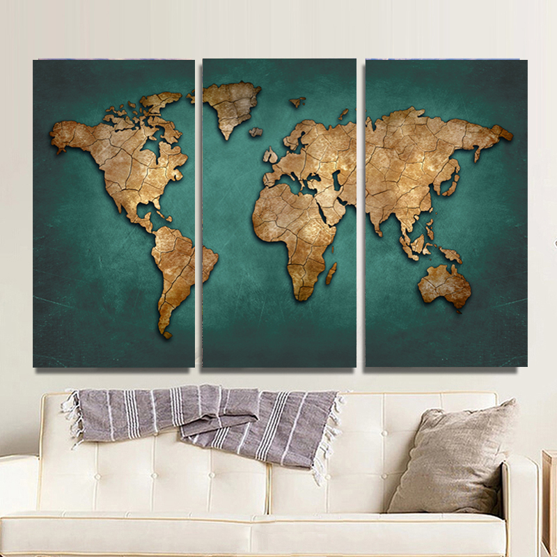 3 panels large vintage world map canvas painting prints modern 3 panels large vintage world map canvas painting prints modern abstract wall art 3 pieces home decor picture poster no frame in painting calligraphy from gumiabroncs Choice Image