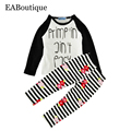 EABoutique Winter style Fashion Letter patern long sleeve shirt with floral & striped pants baby girl clothes set