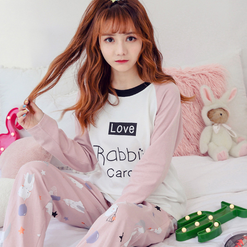 c54b947981 Spring Autumn Women Pyjamas Cartoon Printed Cute Pijama Pattern Pajamas Set  Thin Pijamas Mujer Sleepwear long Sleeve Nightgown-in Pajama Sets from  Underwear ...