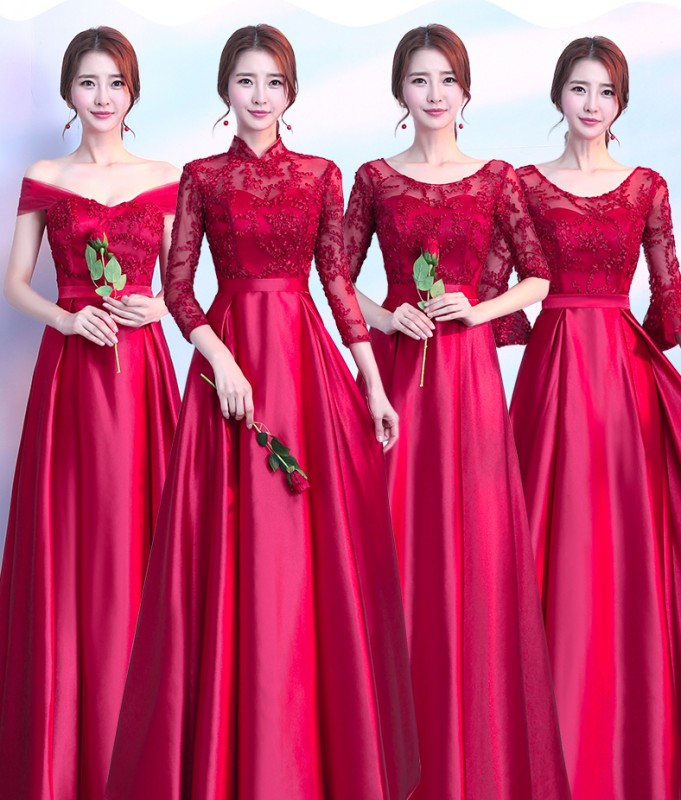 New Red Lace Bridesmaid Dresses 2019 Long Formal Graduation Prom Party Gown Gift For Girlfriend Robe Demoiselleur