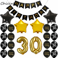 Chicinlife 1set Happy Birthday Banner Balloon Adult 30 40 50 60 Birtday Party Decoration Black Gold
