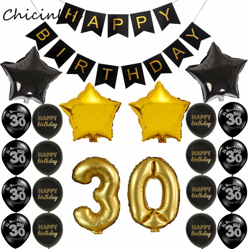 Chicinlife 1set <font><b>happy</b></font> <font><b>Birthday</b></font> Banner Balloon Adult 30 /40 /<font><b>50</b></font>/60 Birtday Party Decoration Black Gold Party Supplies image