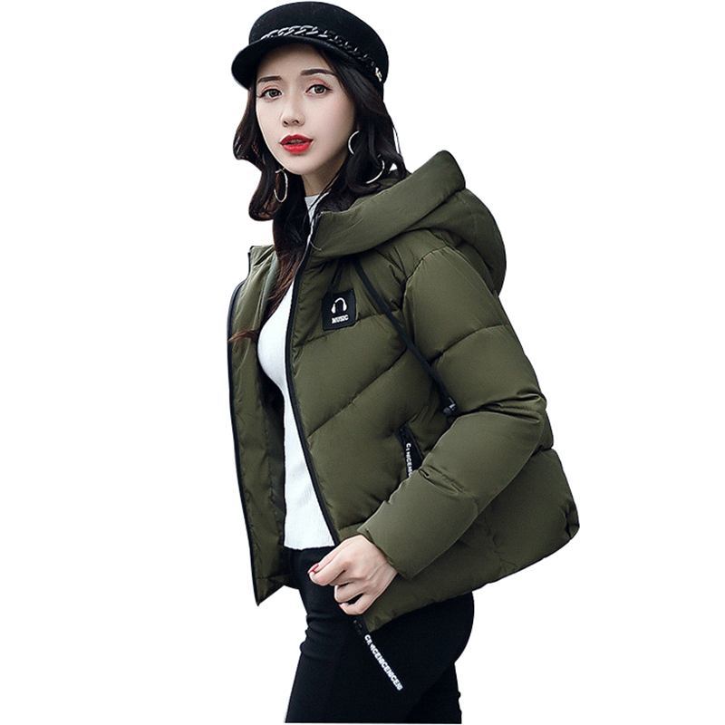 Short Coat Hooded Parka New Style Letter Print High Quality Warm Fashion Overcoat Female Winter Jacket Women Casual Outerwear 2016 new high quality brand men winter cotton down jacket coat parka clothing men and women hooded warm outerwear overcoat