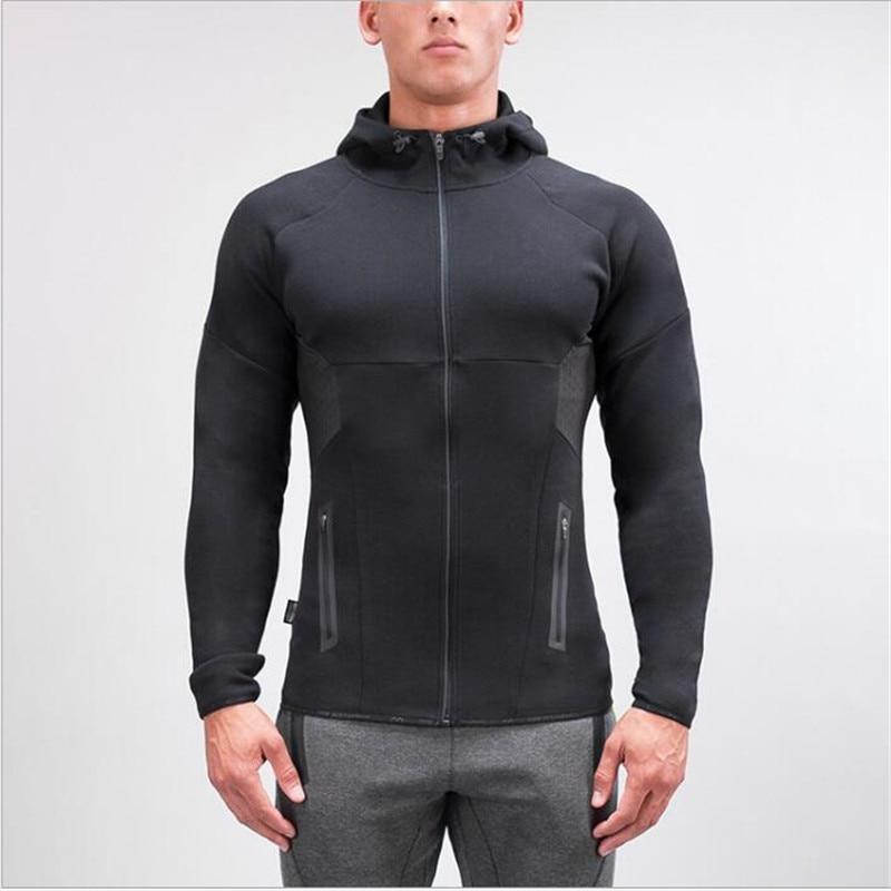 Mens Gyms Hoodie Brand Clothing Mens Hooded Zipper Casual Sweatshirt Muscle Mens Slim Fit Hooded Jacket