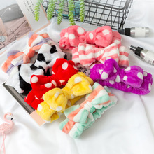 New Leopard Soft Bow Wash Face Headbands For Women Girls make Up Coral Fleece Hairbands Hair Holder Headwear Hair Accessories