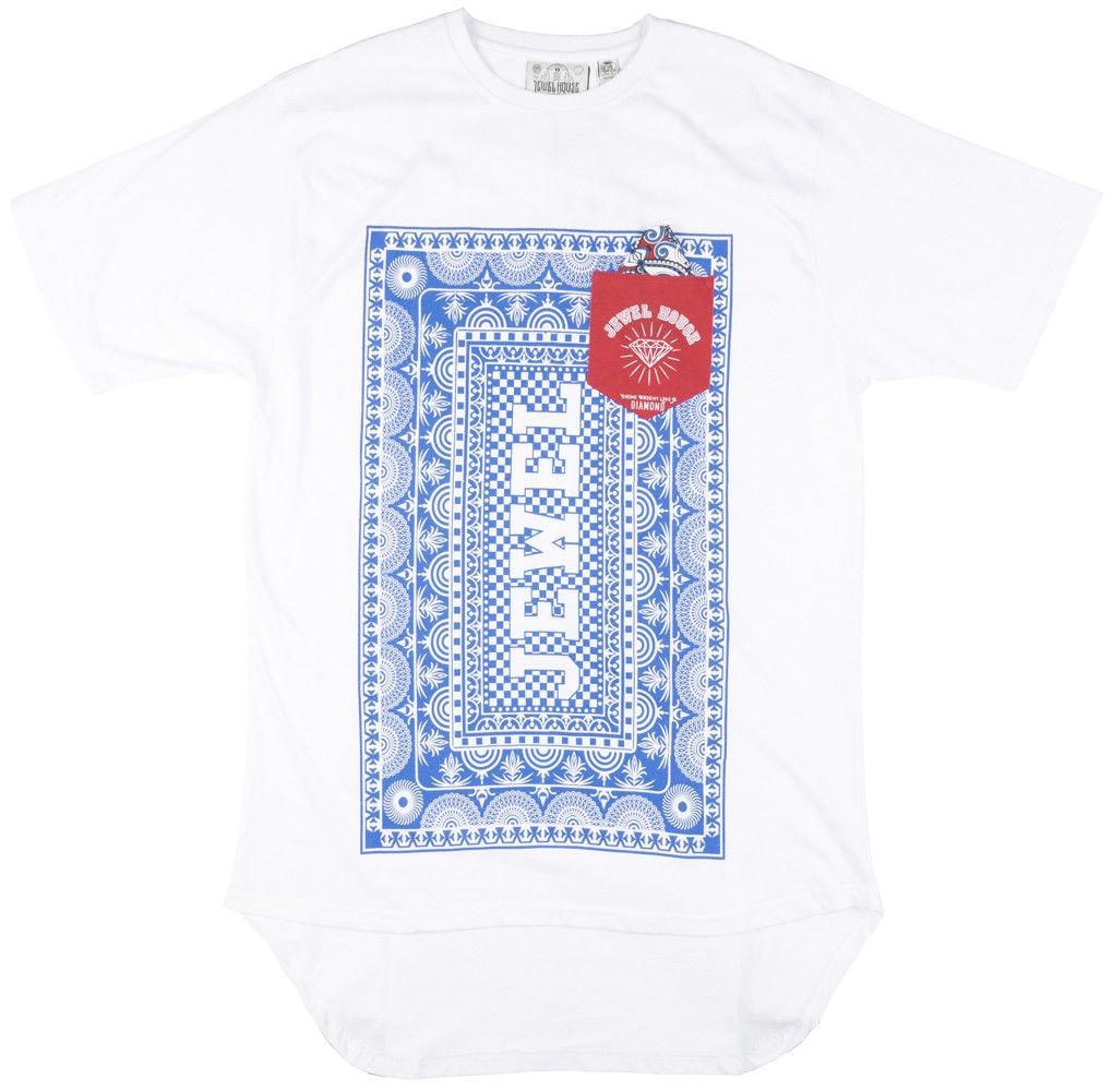 Jewel House Playing Card T-Shirt Elongated Mens White 5XL