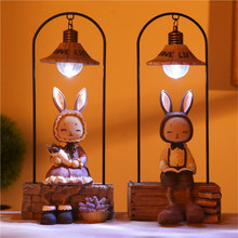 JSEX LED Night Light Table Desk Lamp Rabbit Cat Bear Animal Lamps Resin Lamp Home Bedroom Kid Baby Children Decoration 2018 creative decoration cute animal cat resin children cartoon desk lamp cartoon cat desk lamps bedroom creative for home