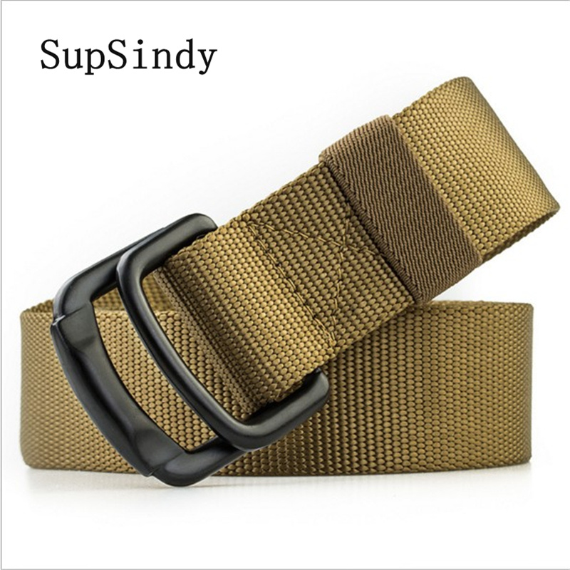 SupSindy men's canvas   belt   metal buckle Double ring nylon military   belt   Army tactical   belts   for Men top quality Male strap black