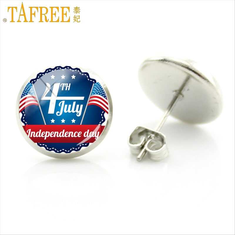 TAFREE Personality Independence Day 4th July Stud Earrings Special Art Picture Glass Cabochon Dome Exquisite Jewelry FQ728
