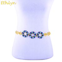 Ethlyn Ethiopian Crystal Rhinestone Waist Chain Party Jewelry Yellow Gold Plated Waist Chain Dancing Decoration S106