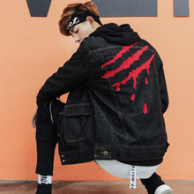 2017 Brand Men Loose Coat Moto Biker Punk Style Jeans Jacket Casual Sweatshirts Hip-Hop Dress Tops Youth Blazer Plus Size M-5XL(China)