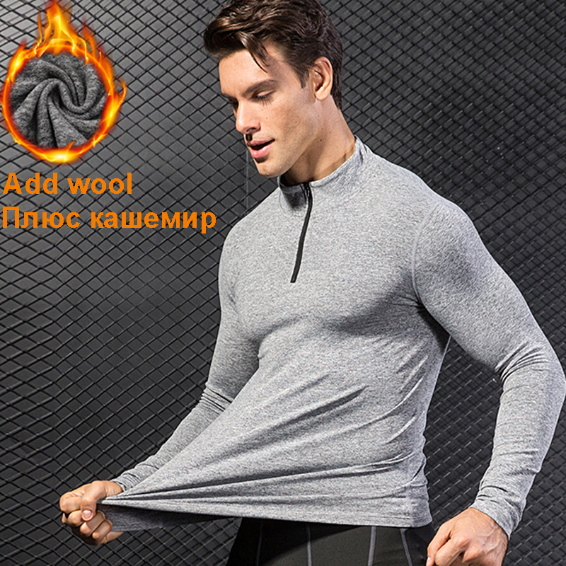 fleece sport Jersey Compression shirt Fitness sweater cross-fit Jersey running Jacket keep-warm Rashgard sport tshirt for winter