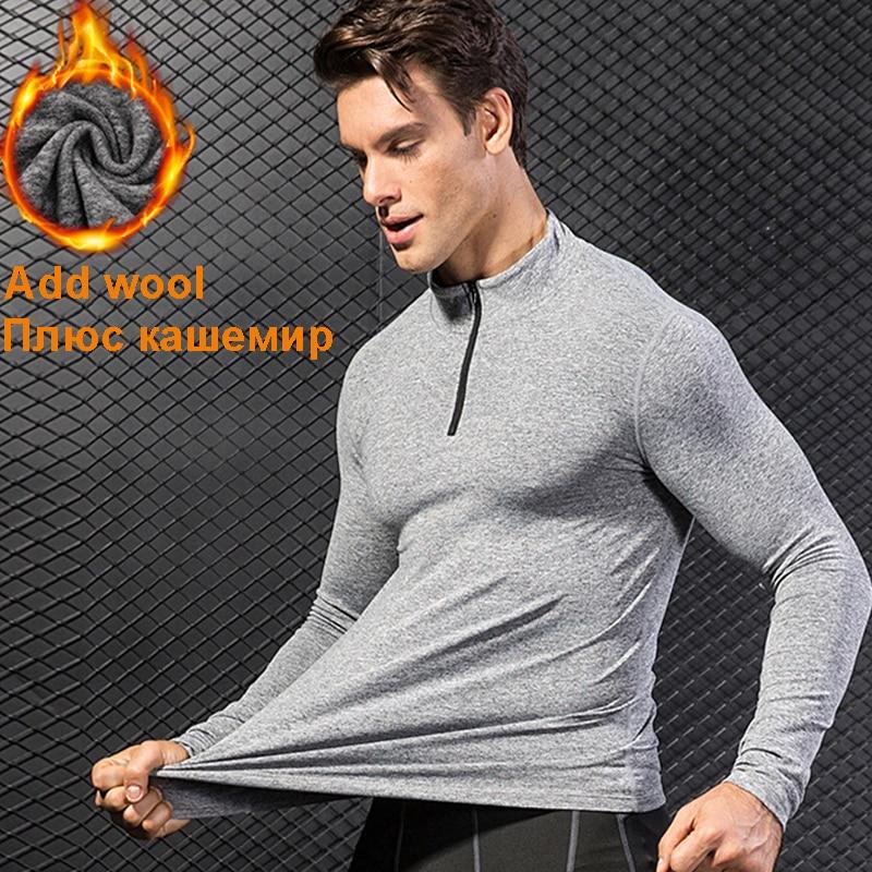 fleece sport Jersey Compression shirt Fitness sweater cross-fit Jersey running Jacket keep-warm Rashgard sport tshirt for winter