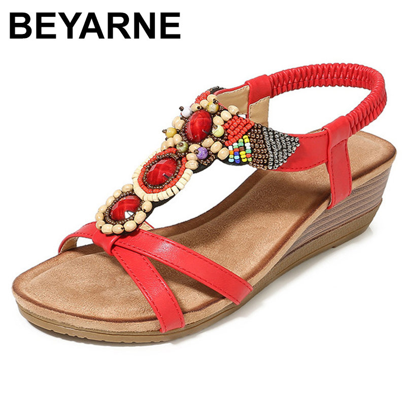 BEYARNEFashionable and comfortable sandals 2019 vintage wedge with bohemian fish mouth women's sandalsE540