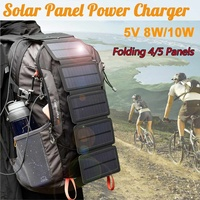 Outdoor Sunpower Foldable Solar Panels Cells 5V 8W/10W Portable Solar Mobile Battery for Traveling Camping Hiking