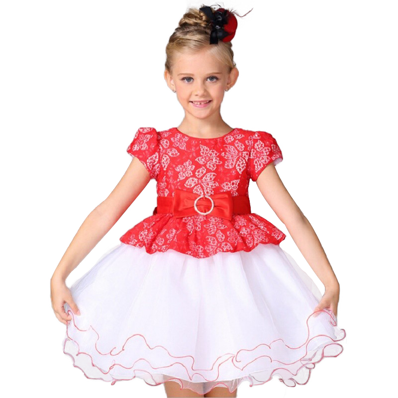 Lace Flower Girl Dress Europe and the United States style Silk Belt Princess Kids Dresses  Girls Party Dress for 2-8T купить