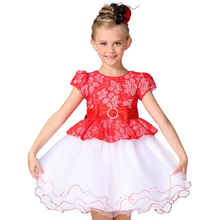 Lace Flower Girl Dress Europe and the United States style Silk Belt Princess Kids Dresses  Girls Party Dress for 2-8T
