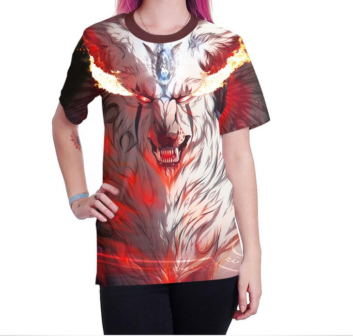 2018 Womens 3D Printed White Fox T-shirt O-neck Flame Pattern Loose Female Tee Fashion Loose Couple T-shirts Wear to Shopping