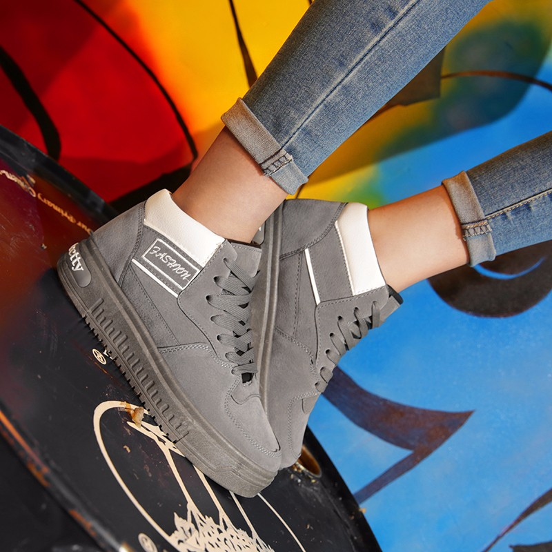 Casual Women Shoes Lace Up Breathable Platform High Top Casual Shoes KUYUPP 2016 Spring Autumn Fashion Lace Up Skate Shoes YD158 (39)