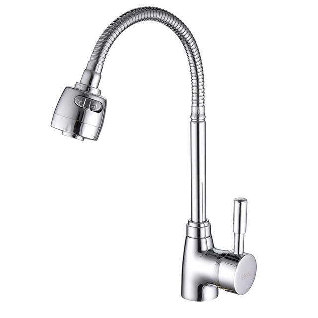 Латунный смеситель SHAI SH3201, кухонный кран для холодной и горячей воды, многофункциональный латунный корпус, хромированный