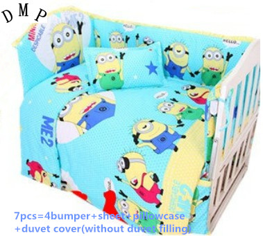 Discount! 6/7pcs Baby Cot bedding set 100% cotton Baby crib bedding set,120*60/120*70cm promotion 6 7pcs baby cot bedding crib set bed linen 100% cotton crib bumper baby cot sets free shipping 120 60 120 70cm