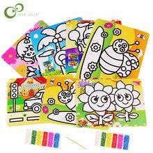 2pc crianças diy cor areia pintura arte desenho criativo brinquedos areia papel arte artesanato brinquedos para crianças gyh