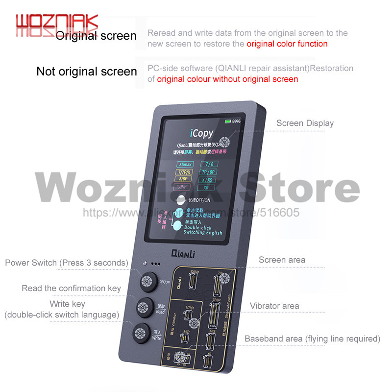 Qianli icopy mais tela lcd instrumento de reparo fotossensível para 7 7p 8p x s xr xsmax bateria fotômetro