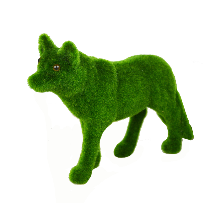 19*28cm Artifical Moss Animals Grass Turf Small Cute Wolf Toy Table Decorations Green Home Decorative for Christmas