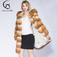 Women's Real Fur Coat Winter Real Fox fur Jacket Thick Warm Fashion Whole Pelt Silver Fox Fur Red fox Fur coat