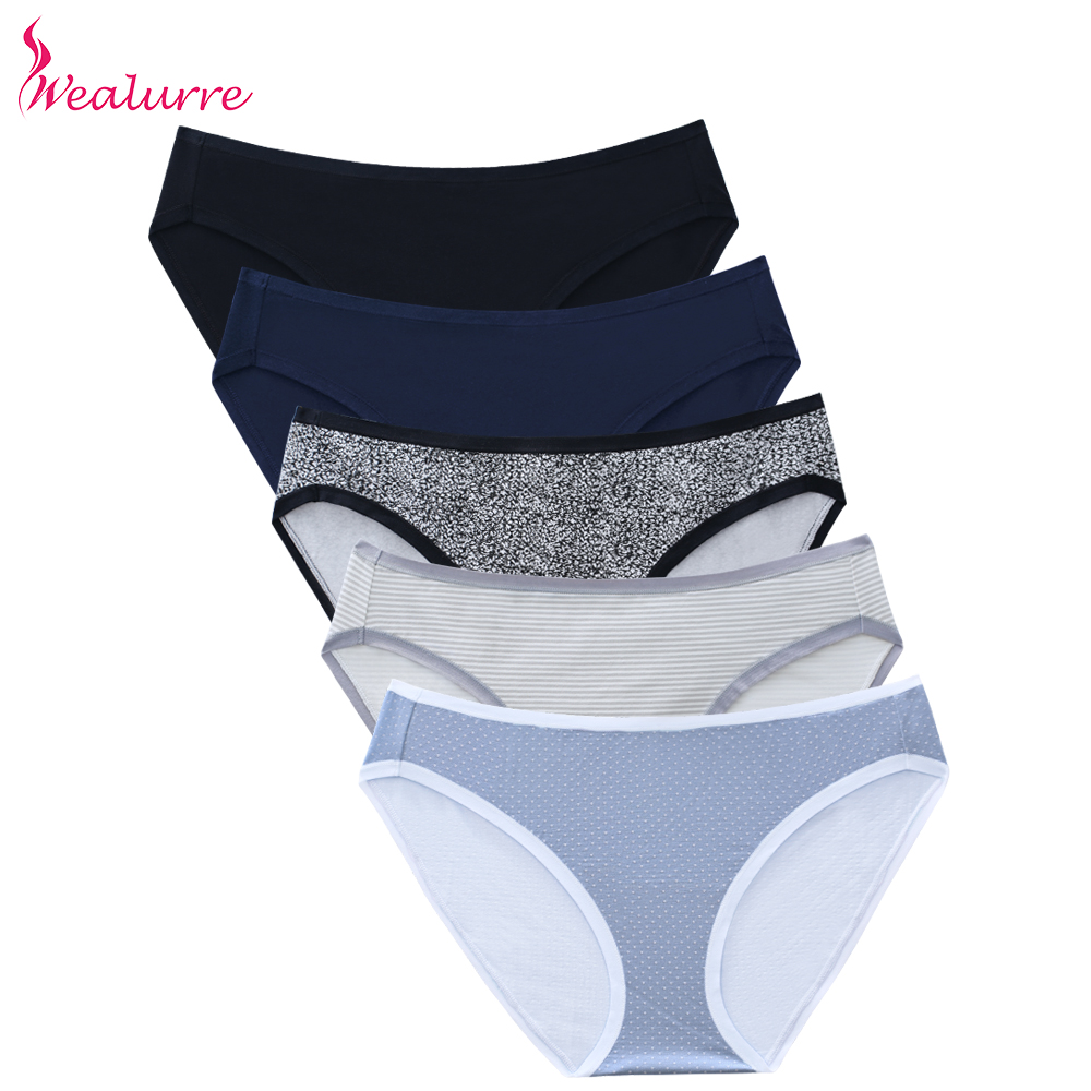 Wealurre Underwear Women Cotton Briefs Breathable Lingerie Bikini   Panties
