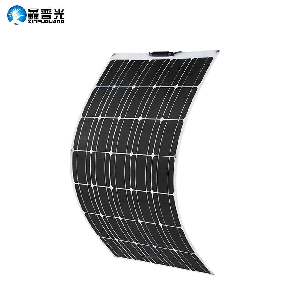 100W Solar Panel 100W 930*660*3mm 17.6V Quality Semi Flexible Monocrystalline PV Module for 12V Battery RV Yacht Car Home Charge