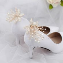 Fashion Shoe Clip Handmade Pearl Luxury Wedding Shoes Bride High Heel Decoration Floral Charms Accessories