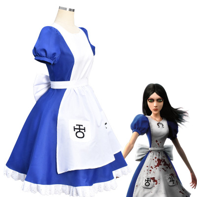 Alice Madness Returns Costume Blue Maid Dress Halloween Cospla Costume