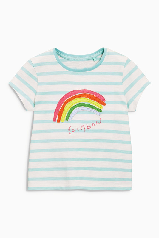 Retail Brand 2017 new 100% cotton kids baby girls clothes tshirts childrens blouse tshirts Cartoon Casual clothes Cute rainbow