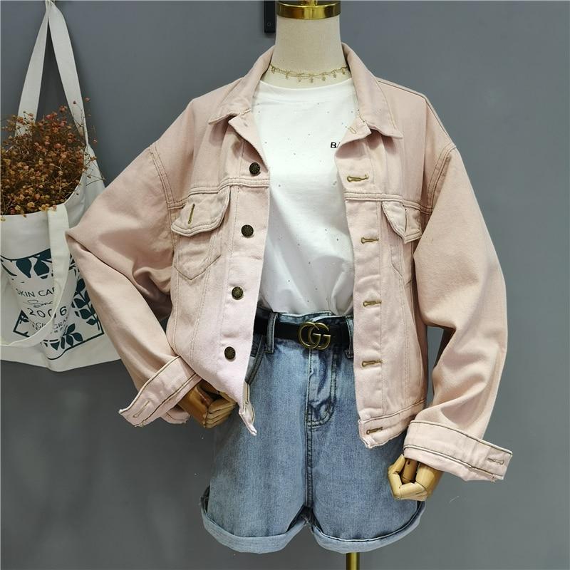 2020 Spring Autumn New Sweet Candy Color Denim Coat Jackets Women Long Sleeve Loose Cowboy Jacket Outwear Girls Lady Streetwear