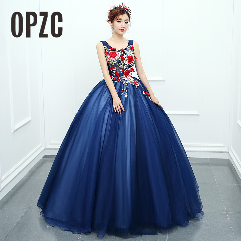 OPZC 2018 New Arrival Evening Dress Sleeveless Ball Gown Classic Flower Pattern Design Cut-out Fashion Elegant In Formal Stage