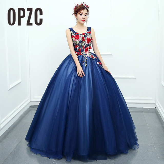 56fe47df2a03 OPZC 2018 New Arrival Evening Dress Sleeveless Ball Gown Classic Flower  Pattern Design Cut-out Fashion Elegant in Formal Stage