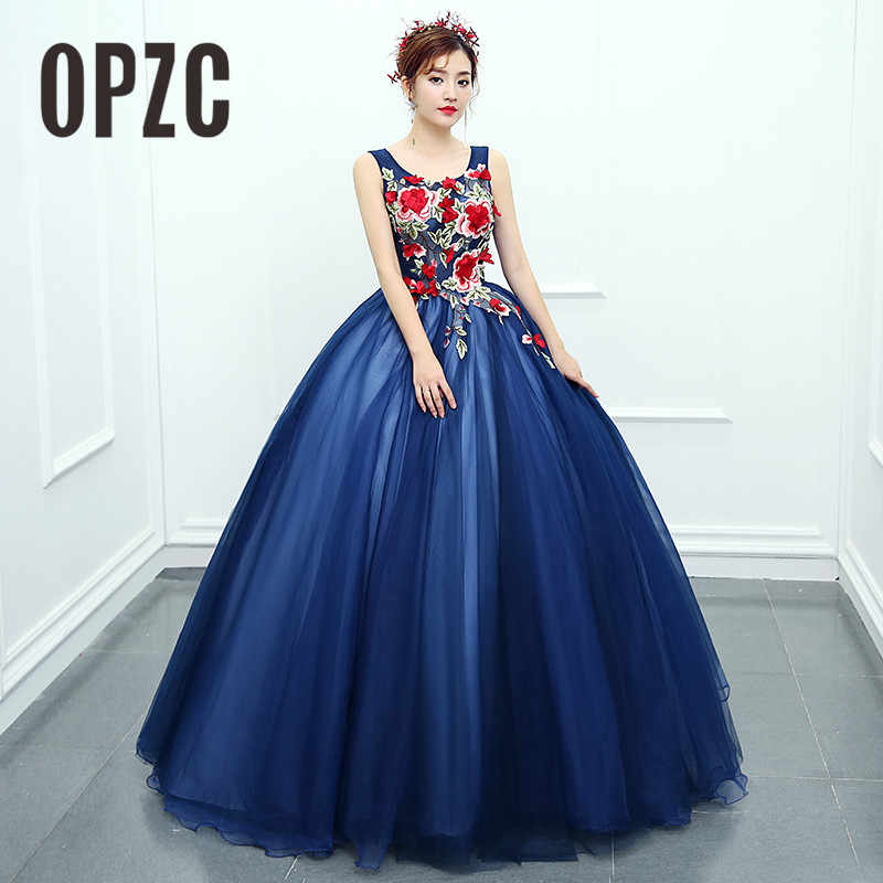 49e9a285ef OPZC 2018 New Arrival Evening Dress Sleeveless Ball Gown Classic Flower  Pattern Design Cut-out