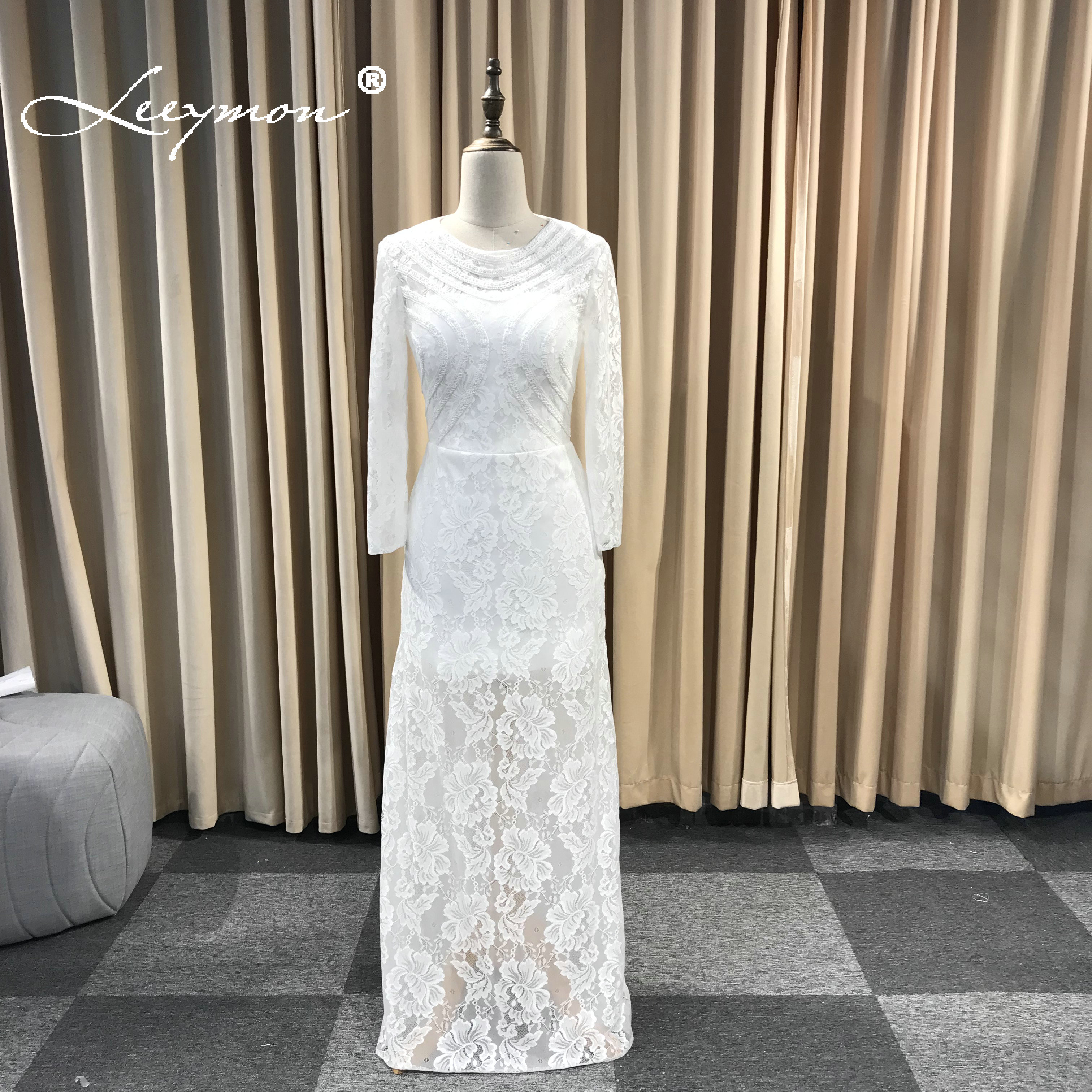 Leeymon Round Neck Full Sleeves Lace Wedding Dress Floor-Length Wedding Dress Cut out Back Gown Robe de Mariee