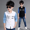 Denim Shirts For Boys Clothing Children Tops Patchwork Letter School Boys Blouses Spring Autumn Kids Clothes 4 6 8 10 12 Years