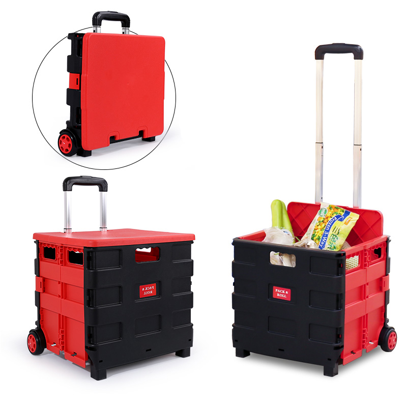 Large Capacity Portable Shopping Cart With Wheel Aluminum Rod+Plastic Folding Shopping Cart 40L Plastic Basket Trolley