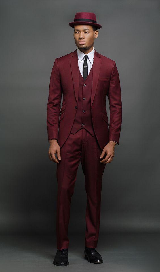 Latest Coat Pant Designs Burgundy Men Suit Formal Slim Fit Wine Red Blazer Prom Gentle Jacket ...