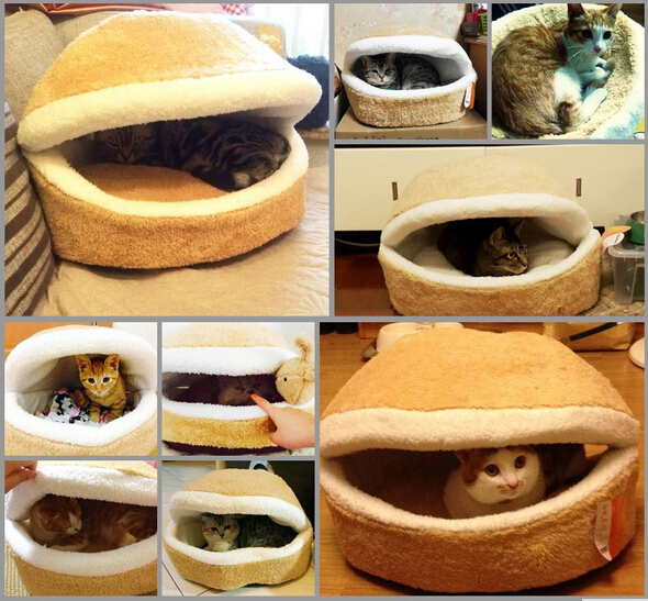 Hamburger Pet Beds For Cat Cutest Comfortable Litter Shell Removable Thermal Hiding Burger Bun Bed Gatos Cats Procucts