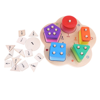 Wooden Stacking Geometry with Fraction Number Board Puzzle Early Number Math Color Shapes Stacking Sorting Kids Baby Toy