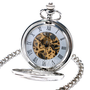 Image 4 - Elegant Hollow Roman Silver Double Shielded Mechanical Pocket Watch For Men Women With Chain Clock Drop Shipping